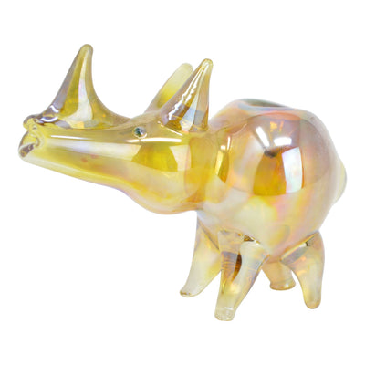 2.6-ounce glass pipe smoking device with a rhino shape and look 4-legged base and shiny veneer