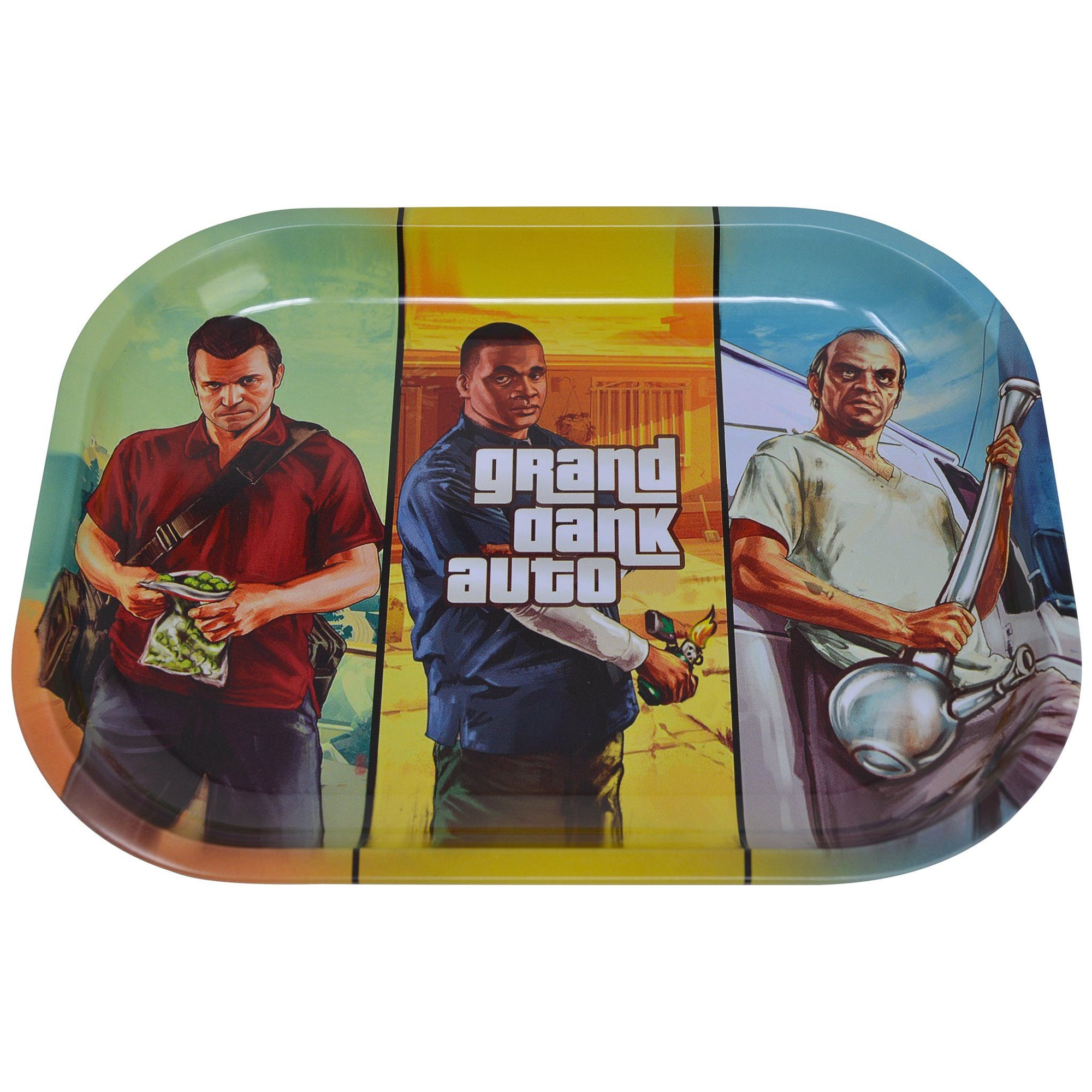 Handy rolling tray smoking accessory Grand Theft Auto video game themed with Carl, Mike, Trevor smoking weed
