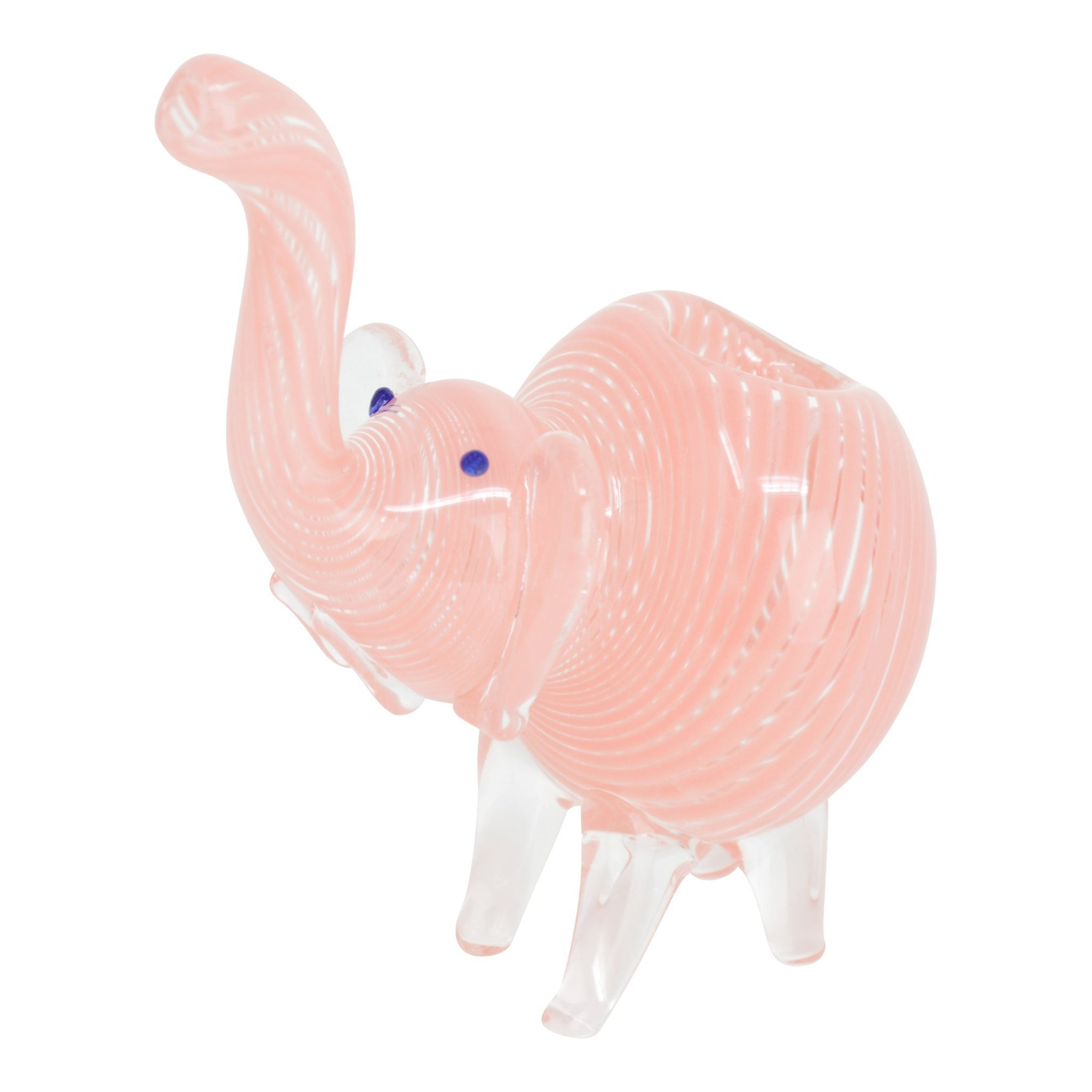 Cute pink glass pipe smoking device with a look and shape of elephant looking upwards 4-legged base