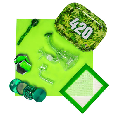 Set of green bong, green 420 rolling tray, banger, wax container, silicone mat, skull dabber and green grinder