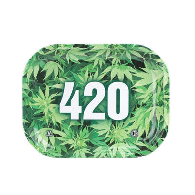 Colored mini rolling tray smoking accessory with a funky Green weed leaf design and 420 numbers in the middle