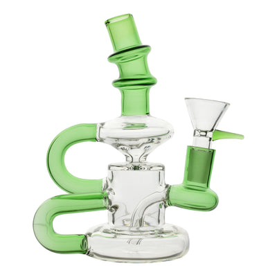 Full front shot of 6 inch glass bong green and clear colors mouthpiece facing left bowl on the right spiral B shape