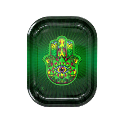 Full upright shot of 7 inch mini metal rolling tray in hamsa palm with big eye design green yellow black fuschia blue colors