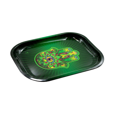 Top tilted shot of laid 7 inch mini metal rolling tray in hamsa palm big eye design green yellow black fuschia blue colors