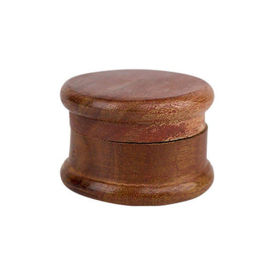 Rustic-style handmade wooden herb grinder smoking accessory 2 parts with metal pegs in grinding chamber classy look