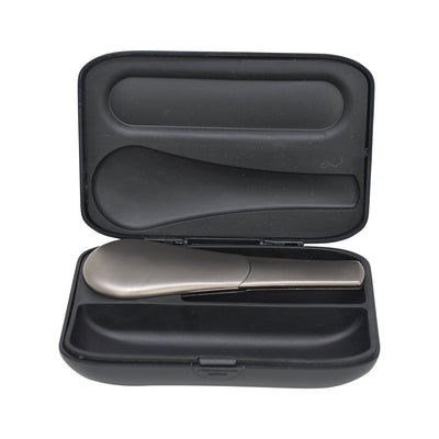 3.5 inch magnetic travel hand pipe smoking device in a discreet spoon shape in stylish metallic colors in an elegant case