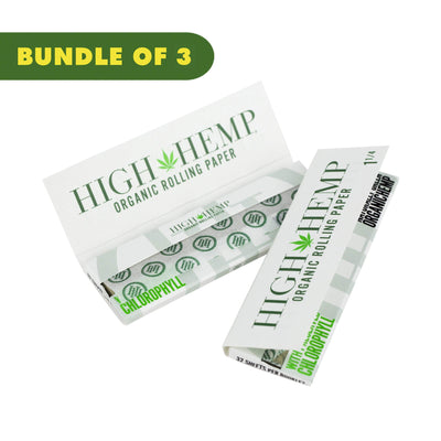 3 packs of thin organic rolling papers weed filtration smoking accessory classic look weed leaf design High Hemp logo
