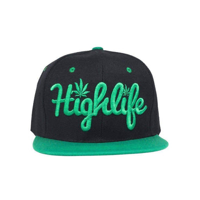 Simple snapback cap fashion item apparel with a 'Highlife' wording and weed leef pot design in Black and Green