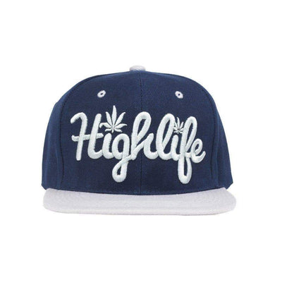 Simple snapback cap fashion item apparel with a 'Highlife' wording and weed leef pot design in Navy and Silver
