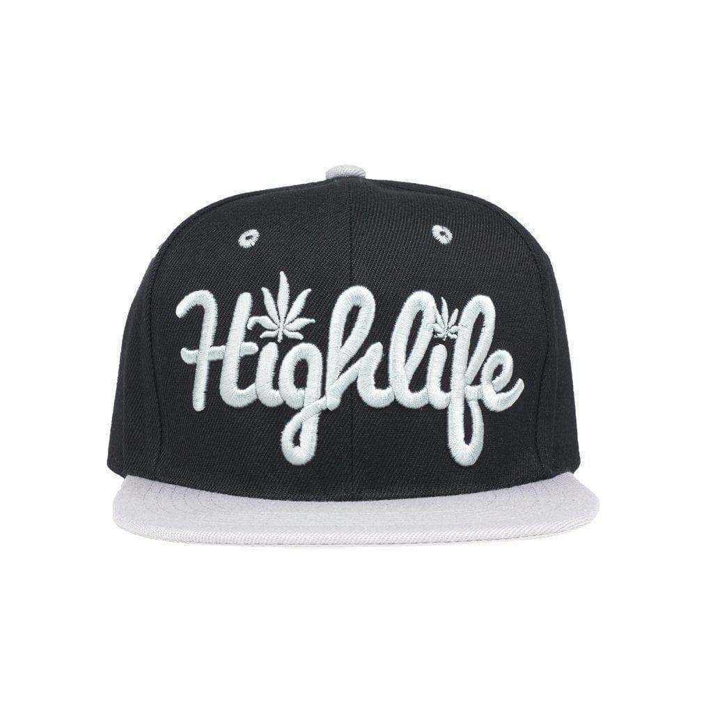 Simple snapback cap fashion item apparel with a 'Highlife' wording and weed leef pot design in Black and Silver