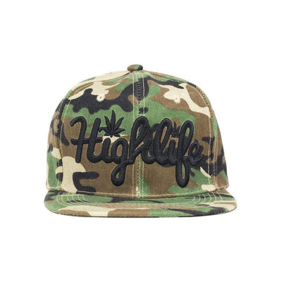 Simple snapback cap fashion item apparel with a 'Highlife' wording and weed leef pot design in Camo colors