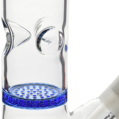 close up to the percolator and ice catcher of blue 16-inch glass beaker style bong