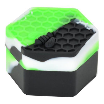 Compact petite small colorful non-stick silicone wax container storage accessory with bee on honeycomb design hexagon shape