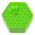 Top view of compact small green non-stick silicone wax container storage accessory with bee on honeycomb design hexagon shape