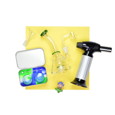 Set of mini bong with bowl and quartz banger, swirl-colored wax containers kit, head styled carb cap and torch lighter
