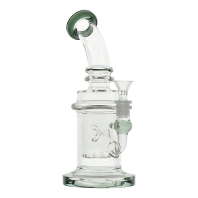 Full shot 10 inch perc bong inverted showerhead look bent neck dark green mouthpiece on left slightly facing back