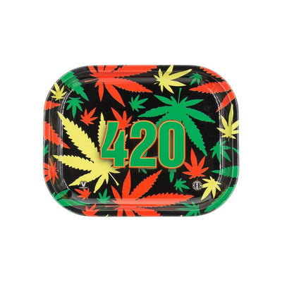 Black, yellow, green, red colored weed leaf rolling tray