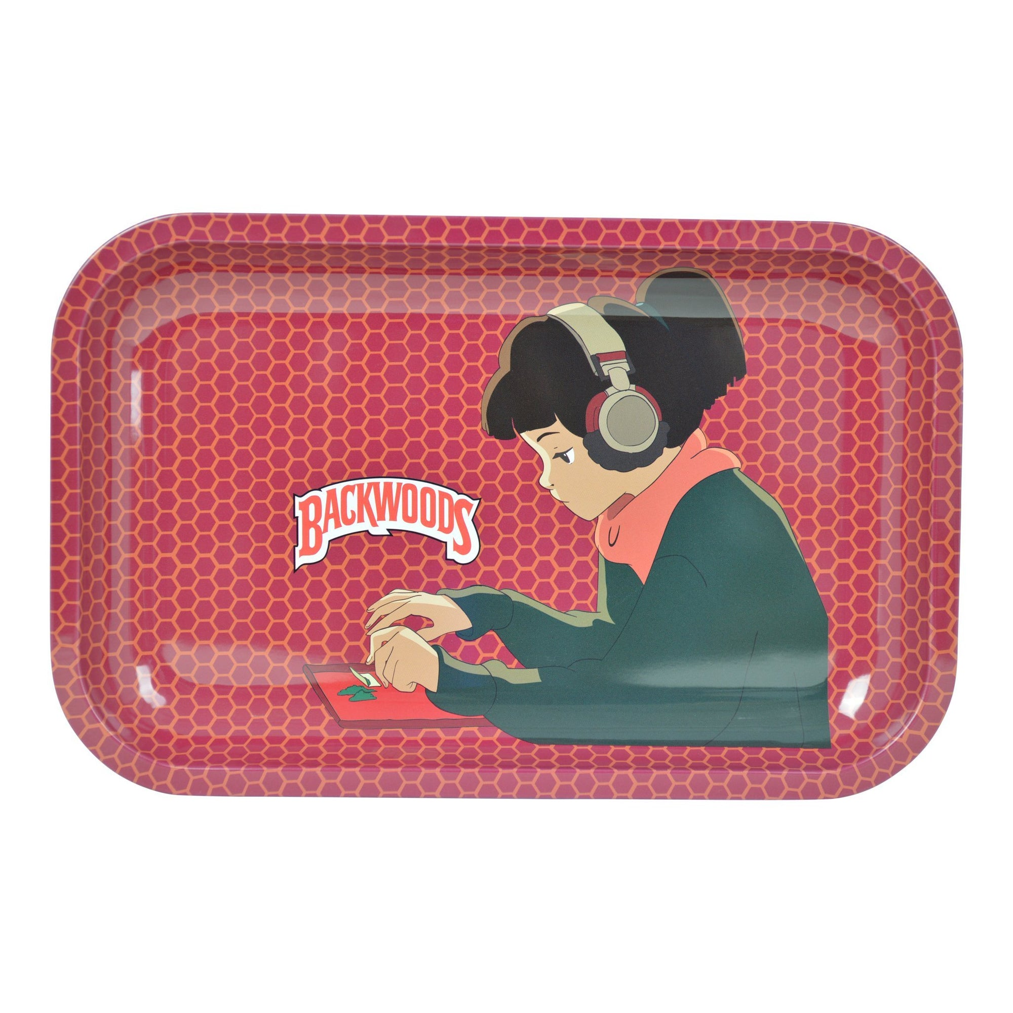 Full shot of 11 inch rolling tray girl with headphones design Backwood wording in red honeycomb print background