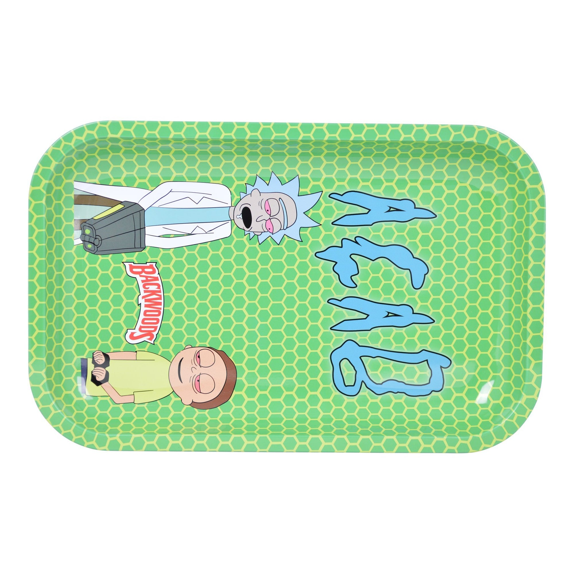 Full shot of 7.5 inch metal rolling tray with Rick and Morty getting high RnM design ACAB word in green background