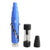 Closed 5.5 inch Leaf Buddi Geek pipe smoking device in blue color on left disassembled 2 parts bong and mouthpiece on right