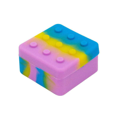 Colorful square-shaped silicone wax container storage smoking accessory with 5 holes in a special Lego block design