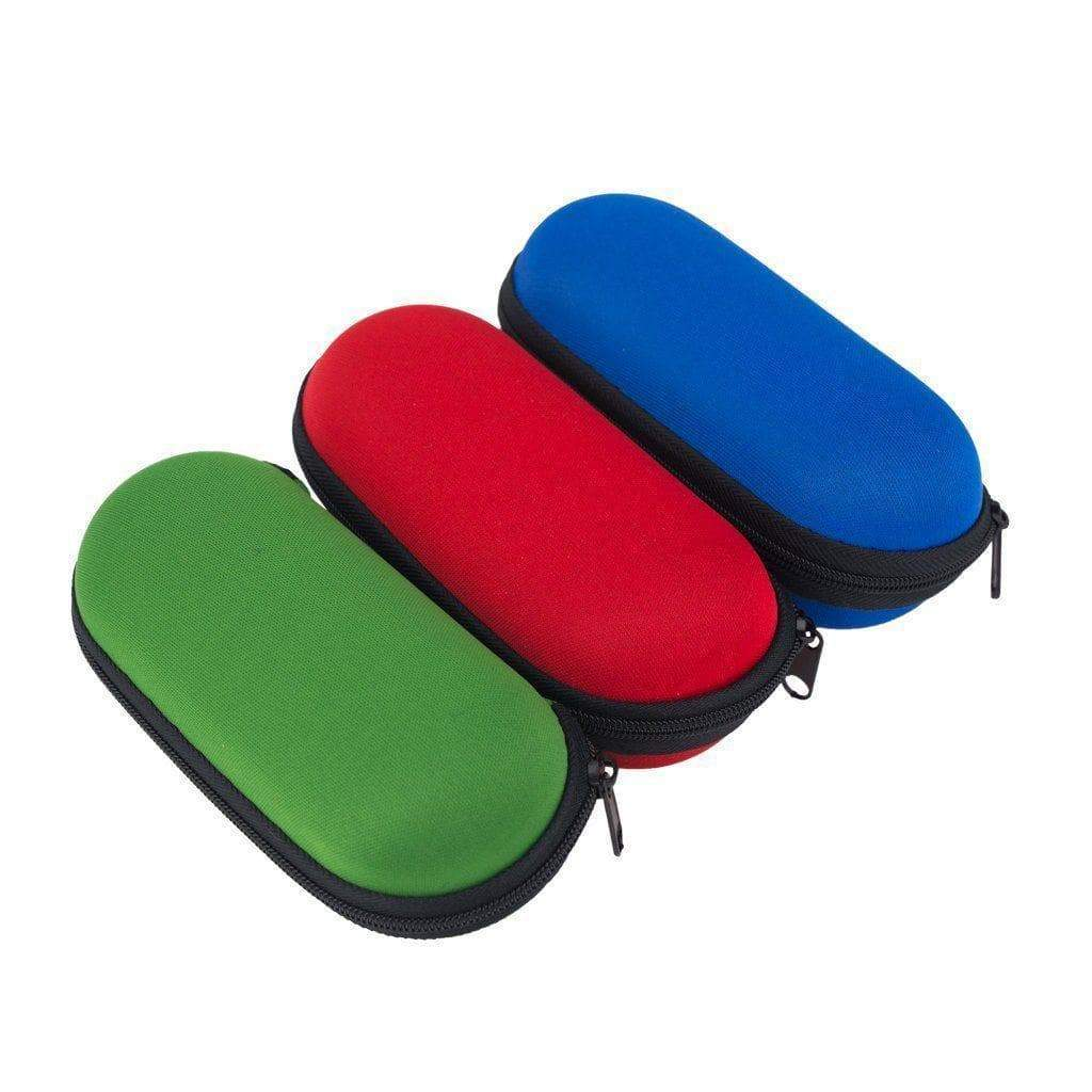 3  functional 6-inch x 2 1/2-inch storage zip pouch for pipes and smoking devices with foam interior in green, red and blue