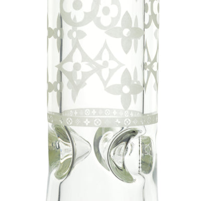 Close up shot of ice pinches of 14 inch clear glass bong with white Louis Vuitton logo design