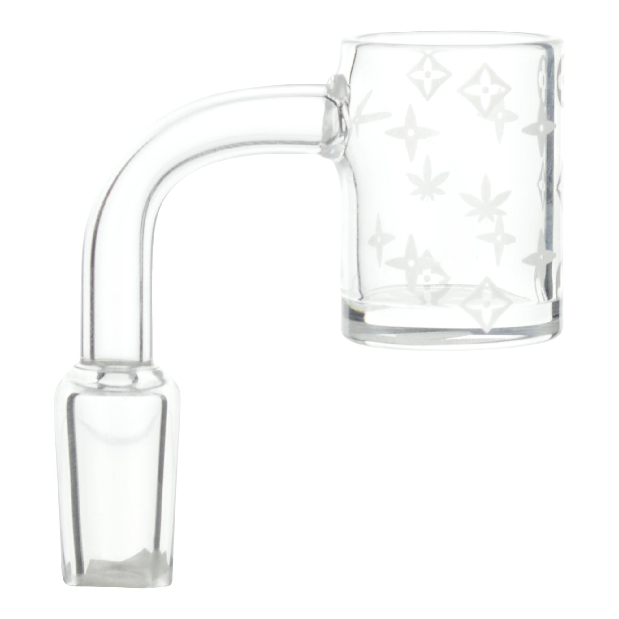 Handy clear glass banger for bong smoking accessory bent neck with dish and Louis Vuitton LV print user-friendly design