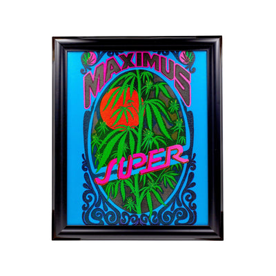 Cool wall art with a curly Super Dank design psychedelic drawing colors