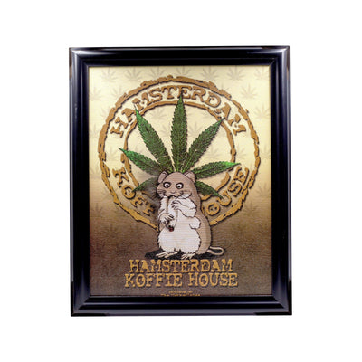 Cool wall art with a curly Hamsterdam with weed lead design psychedelic colors