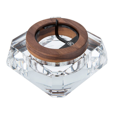 Top angle shot elegant 4 inch Marley Natural Ashtray wooden frame glass crystal diamond-shaped body with Marley logo on top