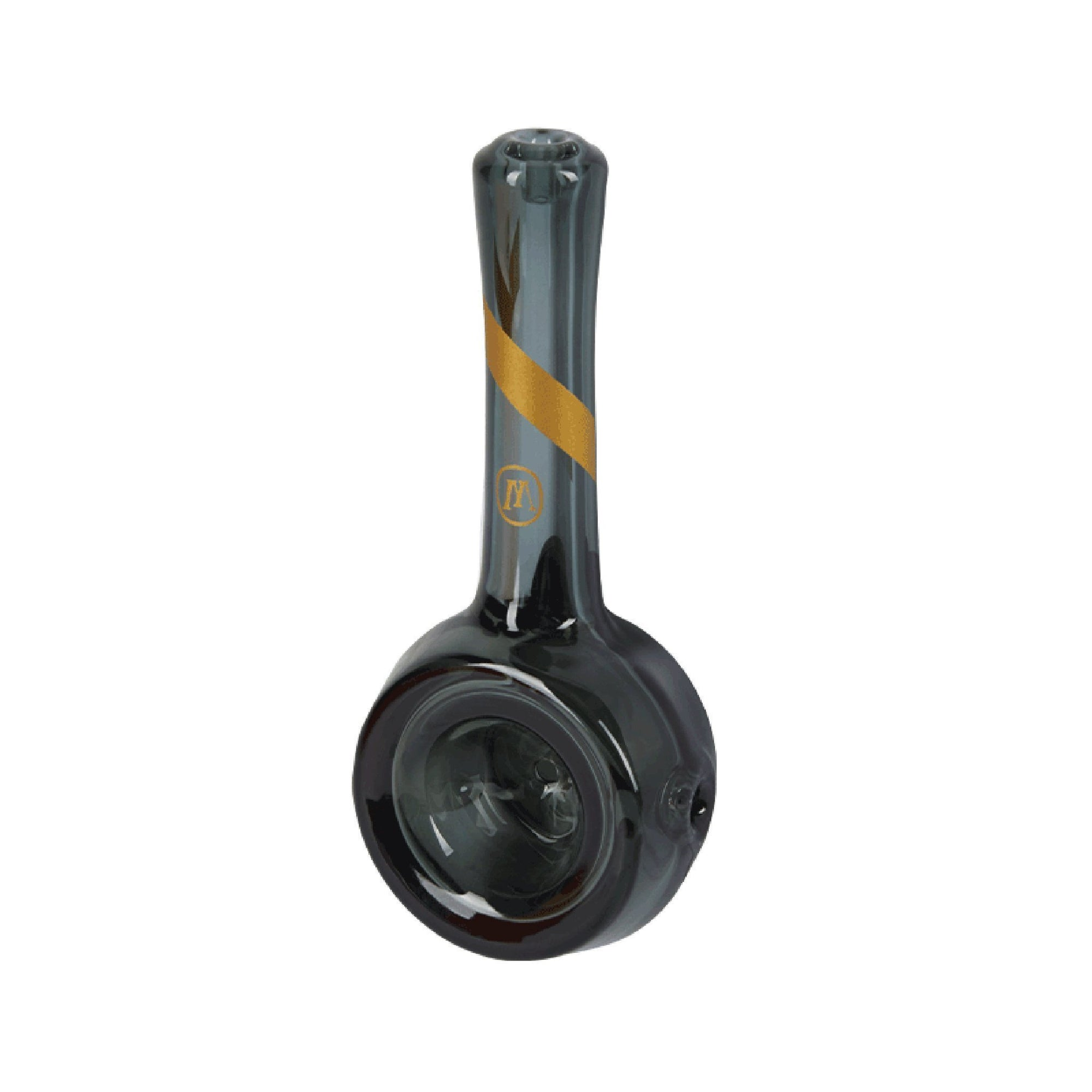 Upside down shot of 4.5 inch Marley Natural Smoked Glass Spoon Pipe shiny black color golden accents M logo bowl facing left