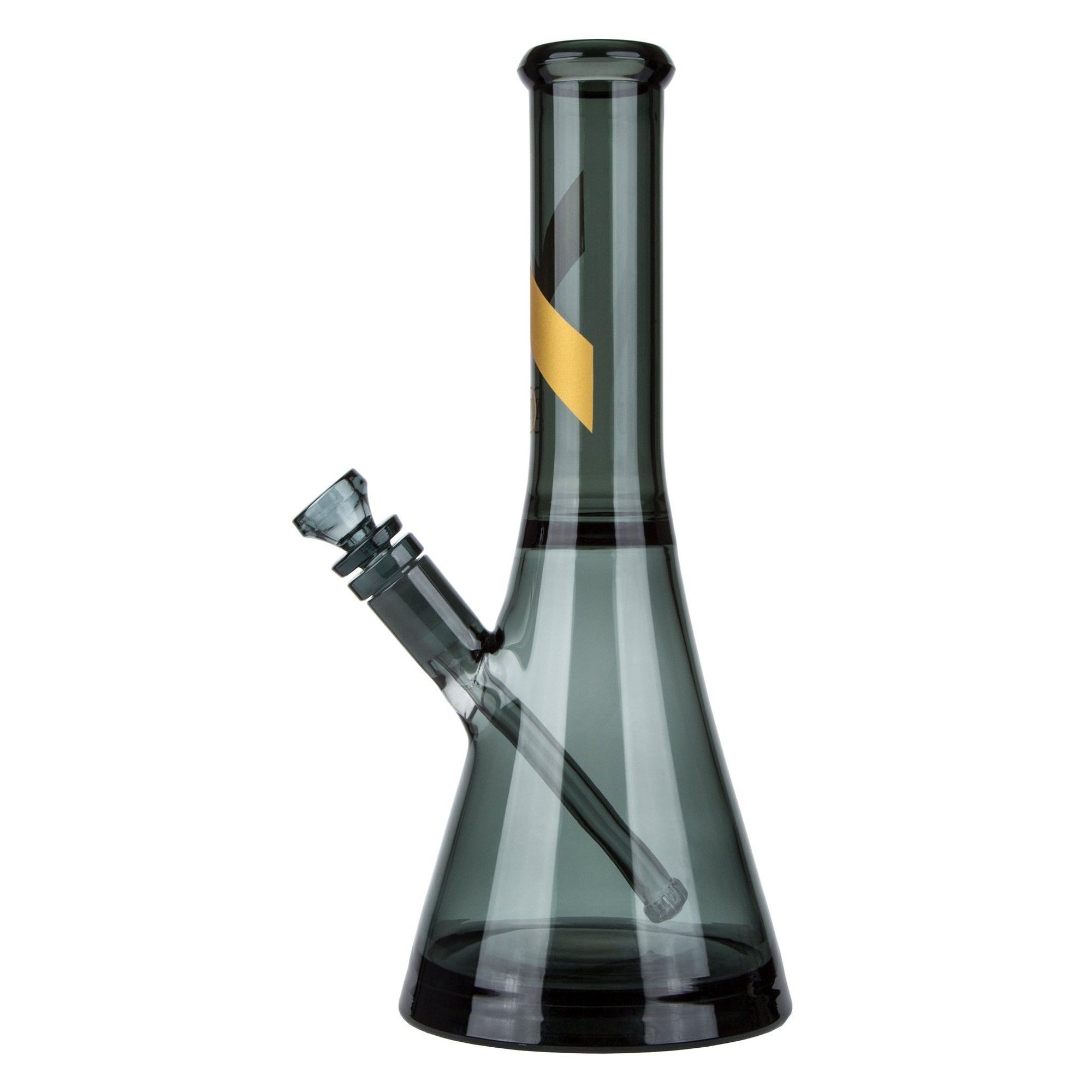 Full shot of classy 13 inch smoked glass gray beaker bong water pipe with gold accent on neck and bowl on left