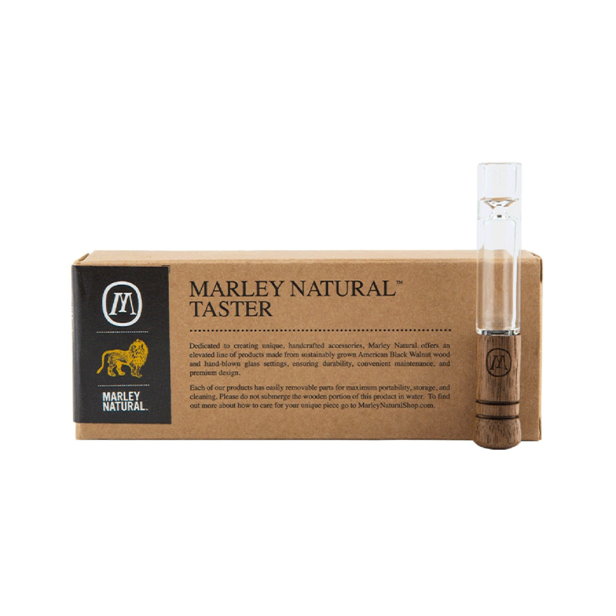 Upright shot package Marley Natural Taster on left with M yellow lion logo and the actual 3 inch wooden glass taster on right