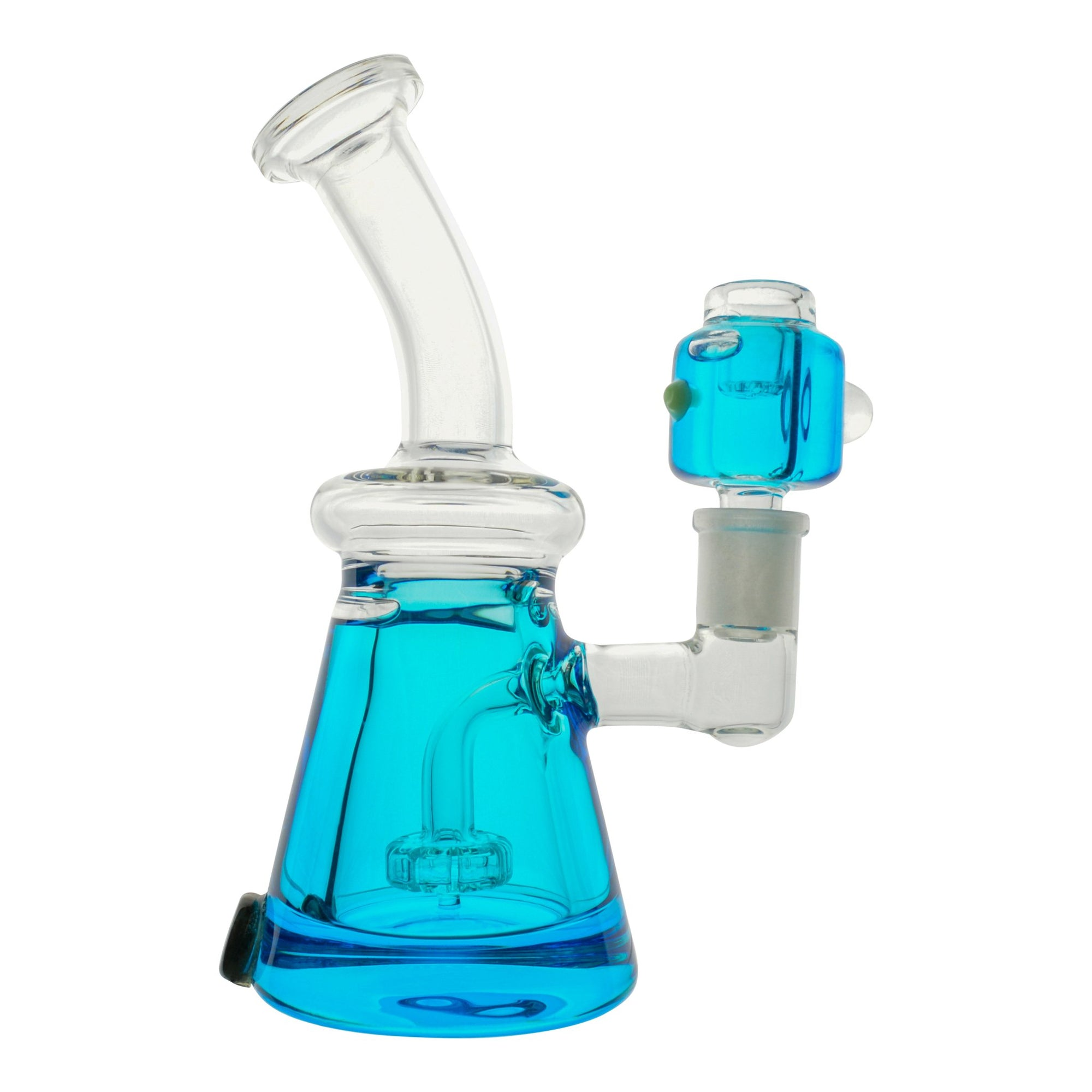 Cute 7 inch glass beaker bong neon blue with glycerine chamber bent neck mouthpiece on left blue bowl with glycerine on right