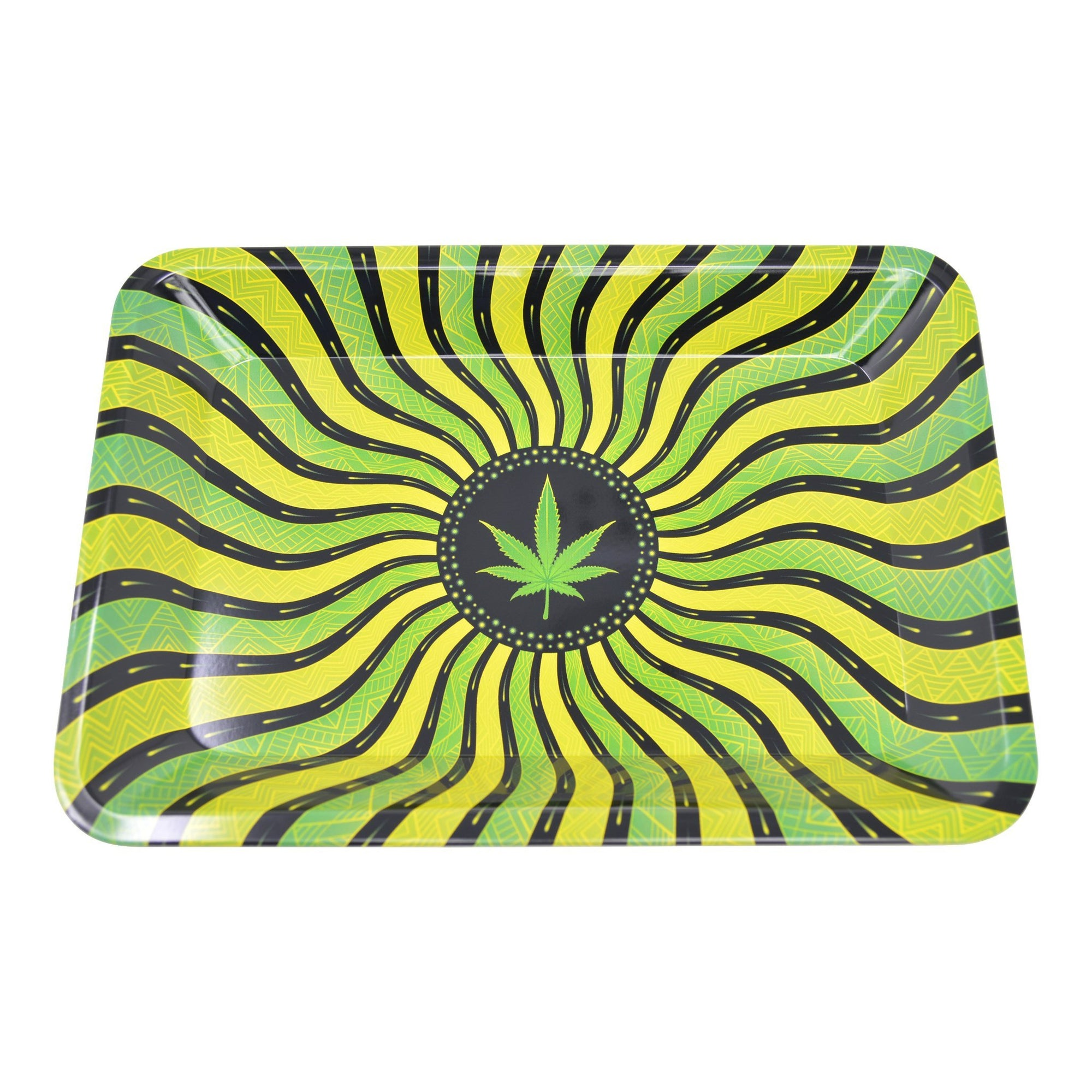 Full shot 5 inch metal rolling tray green weed leaf design at center yellow, black, green background sunrays look