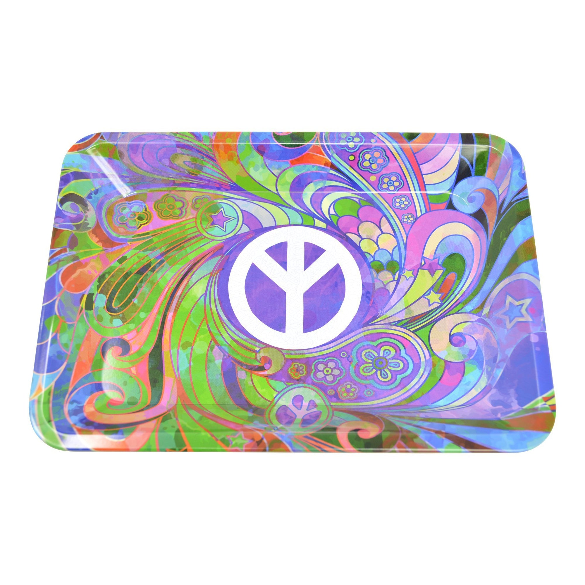 Full shot 5 inch metal rolling tray white peace sign at center multicolored background floral swirl splashes design