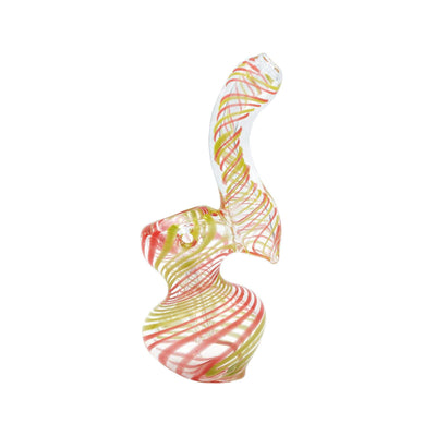 4-inch heat-safe mini glass classic bubbler bent neck Watermelon swirl colors twisting design genie-in-a-bottle shape