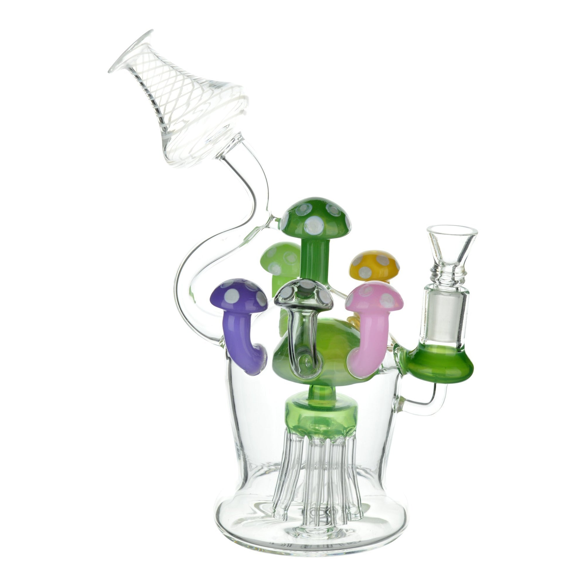 Full shot of glass recycler dab rig with colord mushroom percs mouthpiece facing left bowl on right