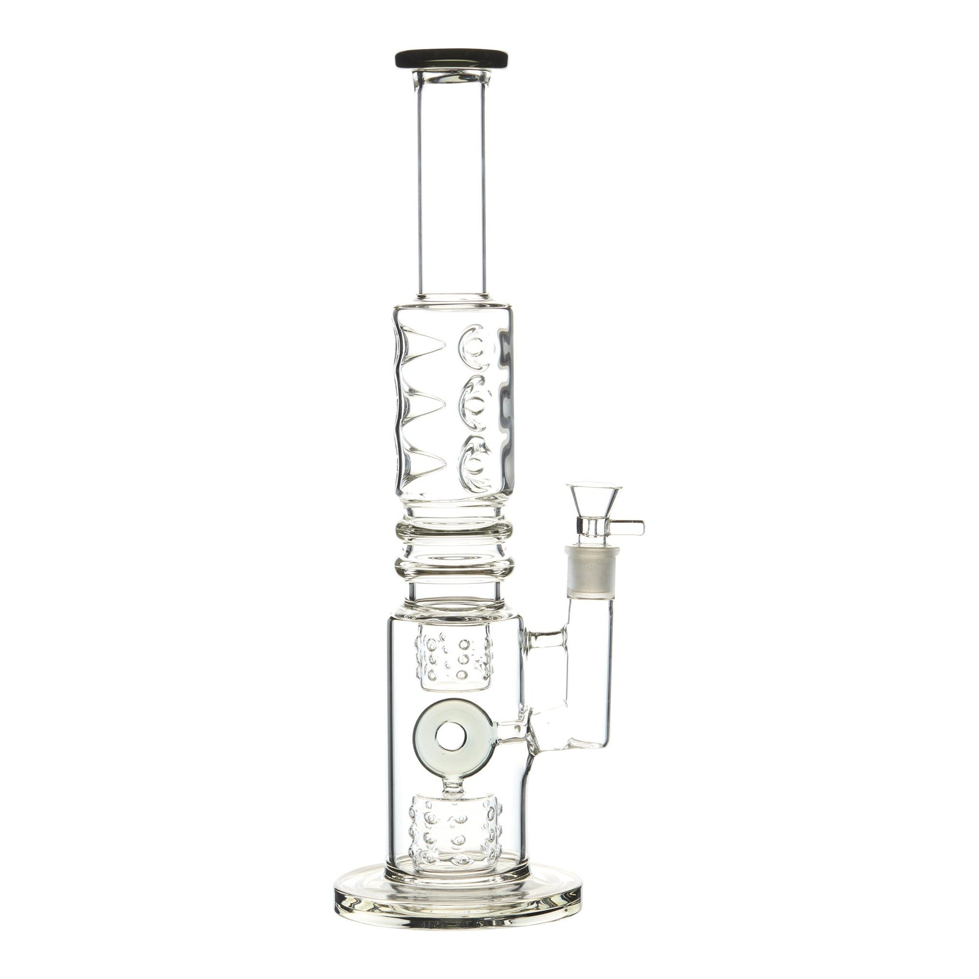 Grey 15-inch glass bong smoking device donut downstem colorful accents sleek and classic look sturdy base