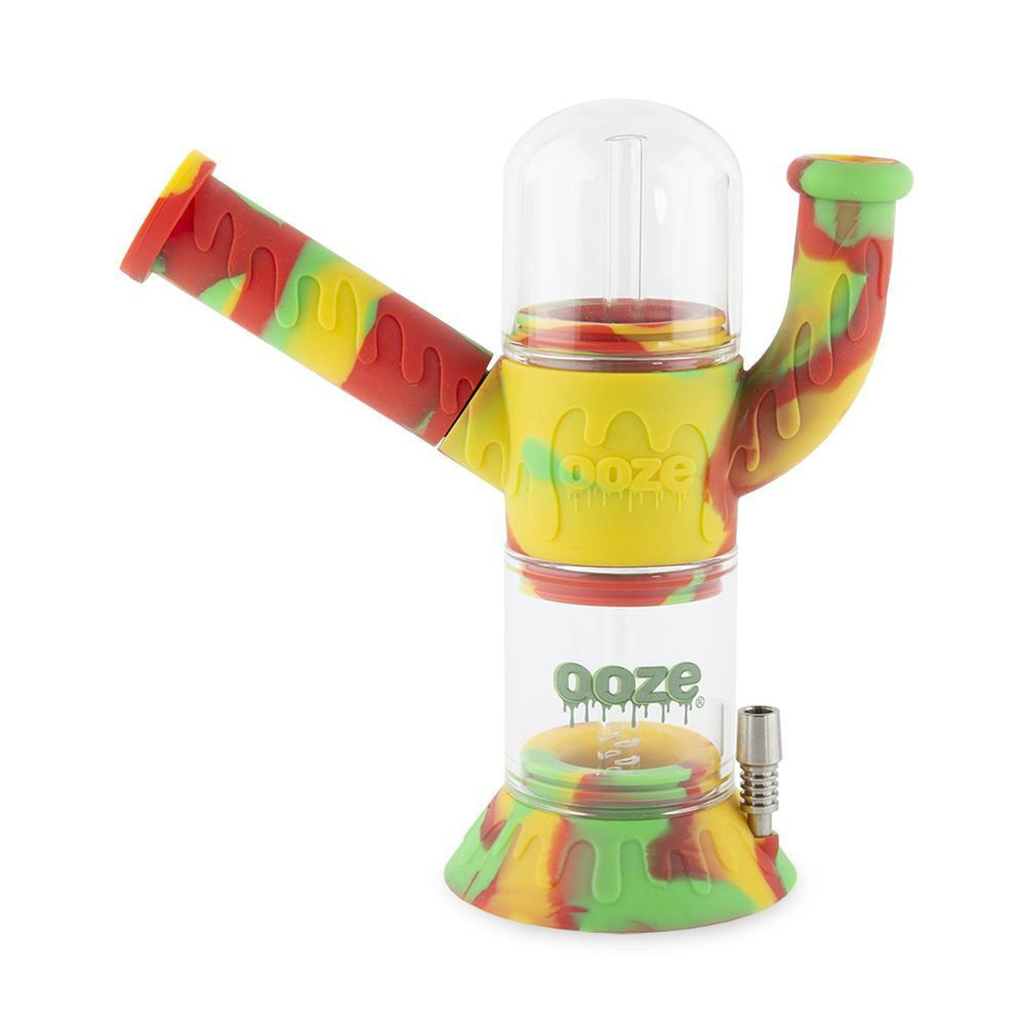 Rasta colored 8.5 inch Ooze Cranium 4-in-1 Silicone Eater Pipe Nectar Collector neck on left titanium nail Ooze logo in front