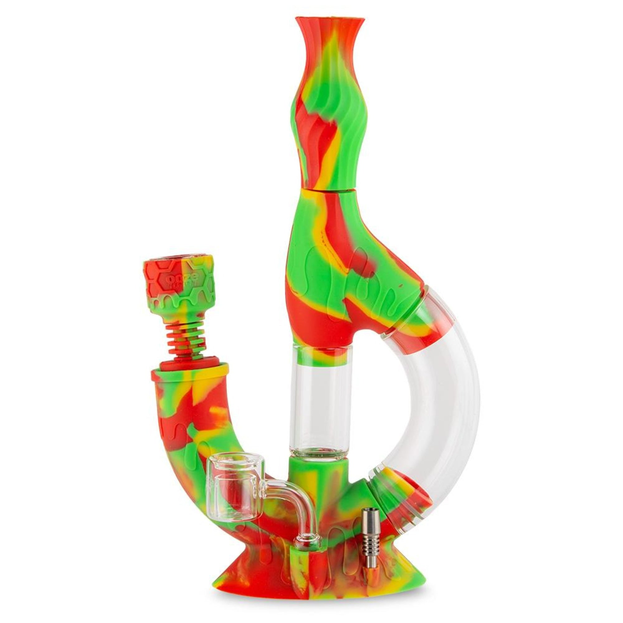 Ooze Echo 4-in-1 Silicone Water Pipe n Nectar Collector - 11in