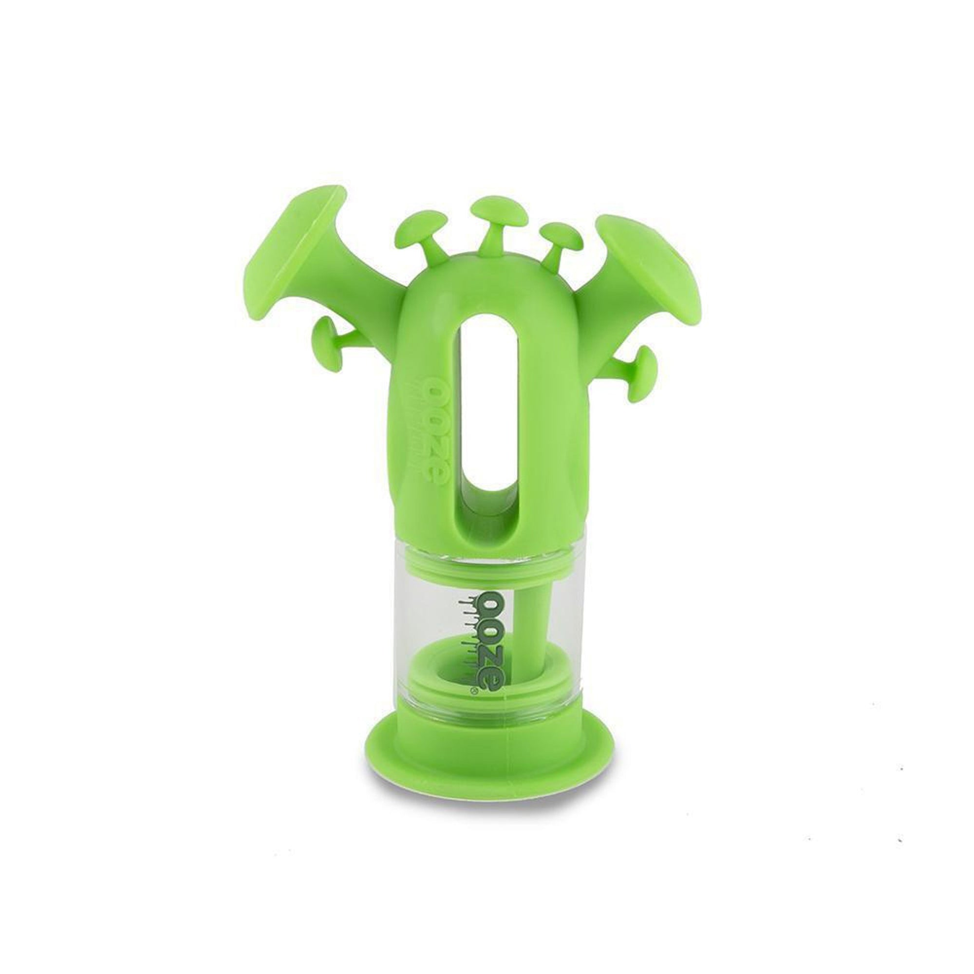 Funky 7.5 inch Ooze Trip green silicone bubbler mushroom shaped accents on top hole in the middle Ooze dripping water logo