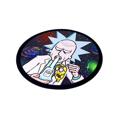 Cool round cartoon-inspired bong coaster smoking accessory with Rick smoking on a bong in outer space design