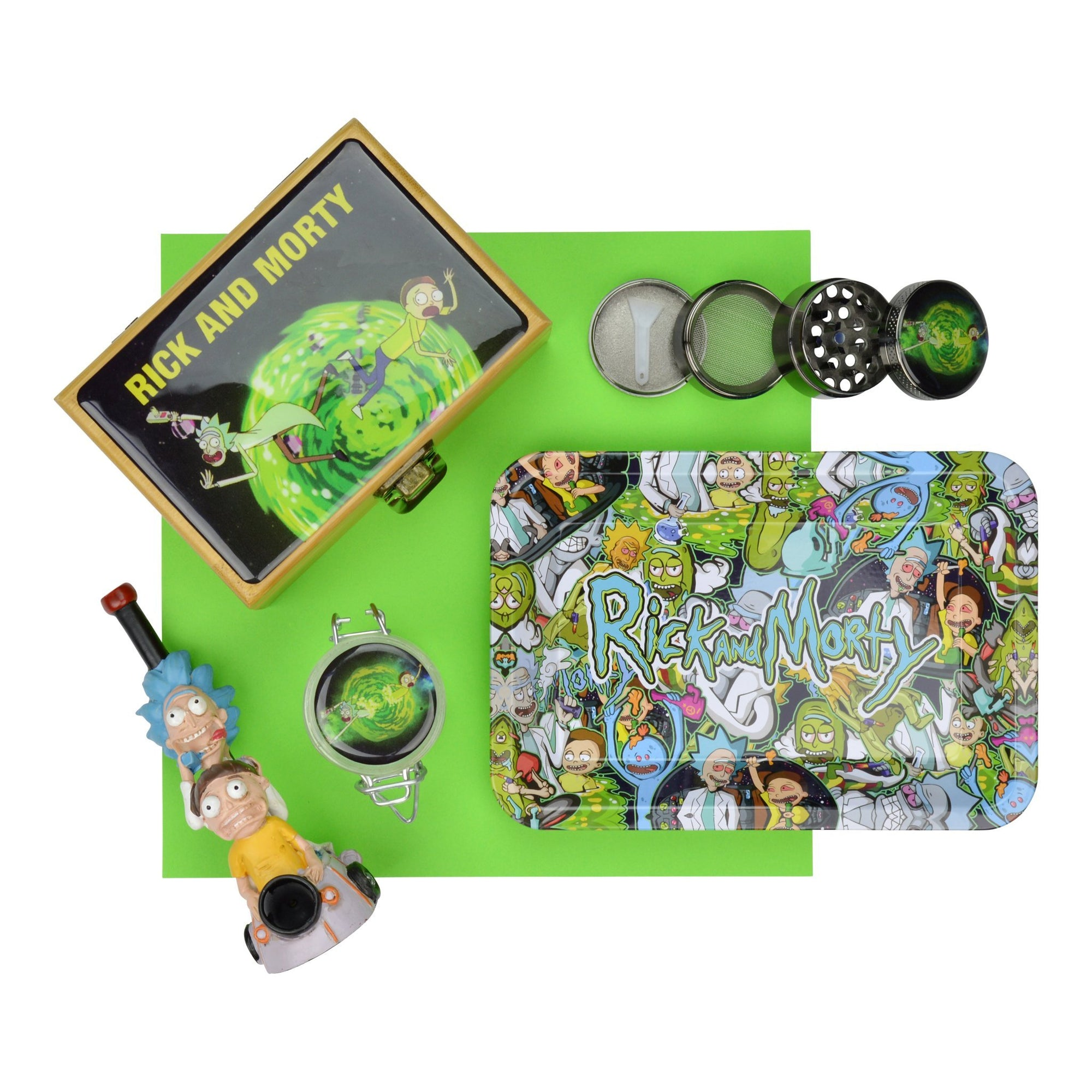 Rick and Morty Rolling Tray with Herb Grinder