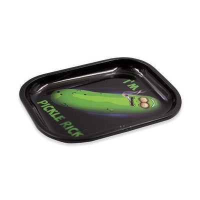 Metal tray smoking accessory outer dimensional outer space and Pickle Rick design