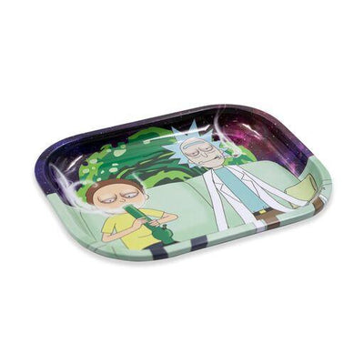 Metal tray smoking accessory outer dimensional outer space with Rick and Morty Couch Potato design