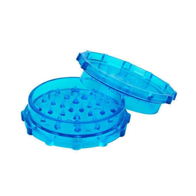 Blue 70mm 2-piece herb mini grinder with interlocking pegs made with lightweight plastic in a cool and crisp style