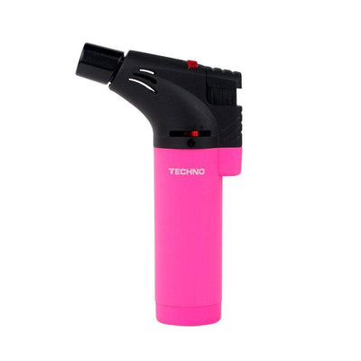 Pink dual-colored easy-to-grip flat base handheld torch with adjustable flame and a chic smooth design