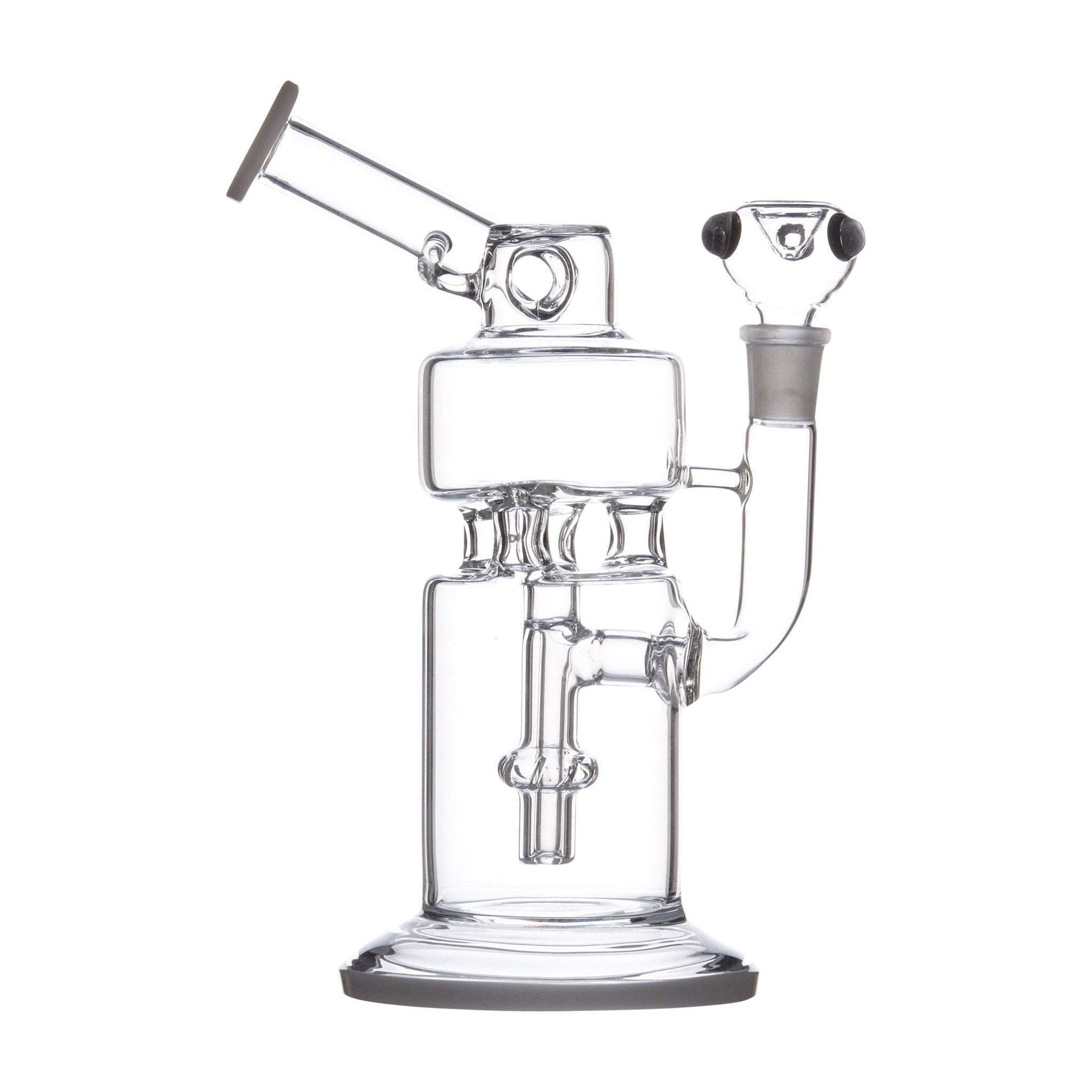 9-inch cylinder clear glass bong smoking device wide chambers sturdy base microscope look